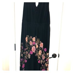 Black hi low dress with embroidered flowers
